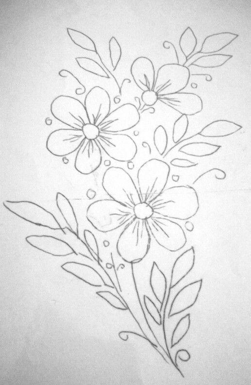 Flores Drawing Bordado Bordado Livre And Riscos Para Bordar