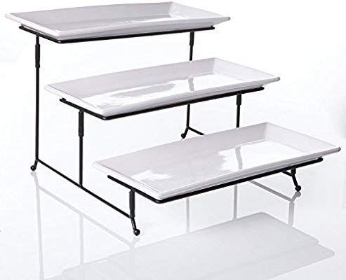 Amazon Com 3 Tier Rectangular Serving Platter Three Tiered Cake Tray Stand Food Server Display Plat Cake Stand Ceramic Serving Stand Coffee Table