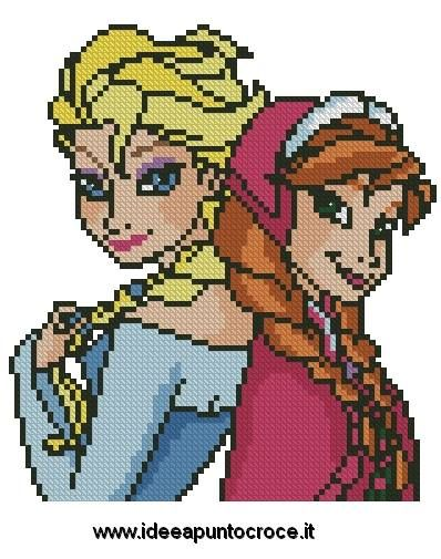 SCHEMA ELSA E ANNA FROZEN punto cruz cross Stitch Pinterest