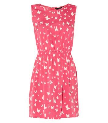 Pink Cut Out Bow Back Butterfly Print Skater Dress