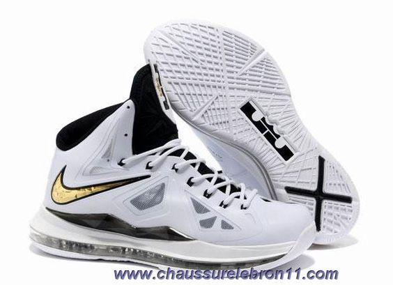 Chaud Nike Lebron X 10 Blanc Noir Or