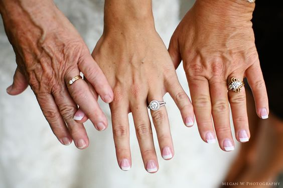 Cool idea. Grandma, Mom, bride.