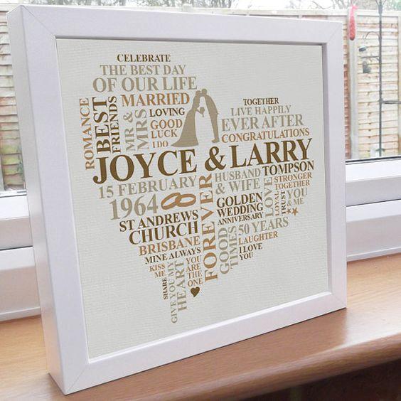 Framed Print. Golden Anniversary Personalised by AliChappellUK, £35.00