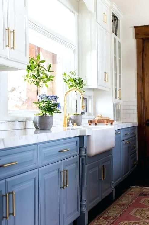Blue Kitchen Cabinets White Suspended Cabinets And Dusty Blue Cabinets On The Floor Look Lightweigh Kitchen Cabinet Design Kitchen Inspirations Kitchen Remodel