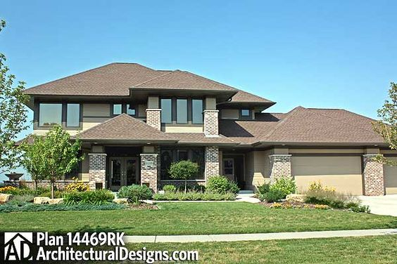 Prairie style home plan 14469rk contemporary for Prairie style house plans luxury