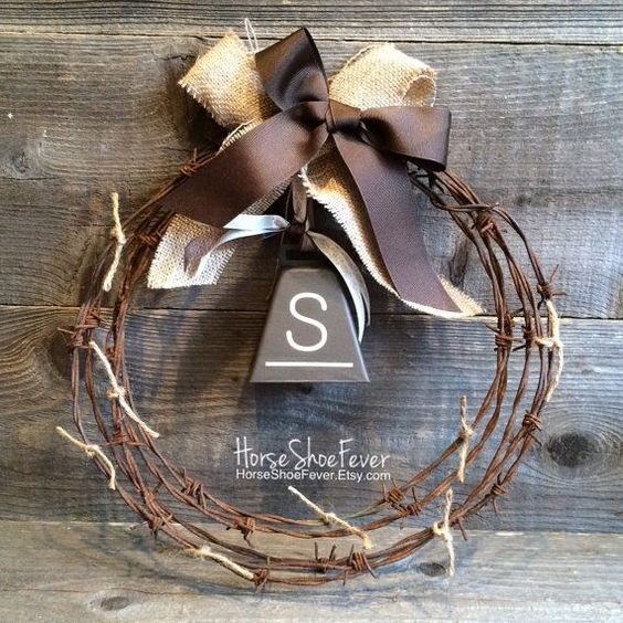 awesome Rustic Decor. Cowbell Barbwire Wreath 1ft. Country Decor. Primitive Decor. Farmhouse Decor.  - Western Home Decor