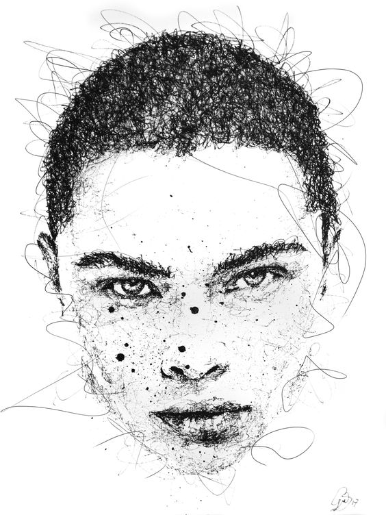 Scribble portrait by Gus Romano. Sketch with black pen and ink. Artwork fashion art. Doodles model illustration. Retrato caneta preta. Desenho modelo fashion ilustração