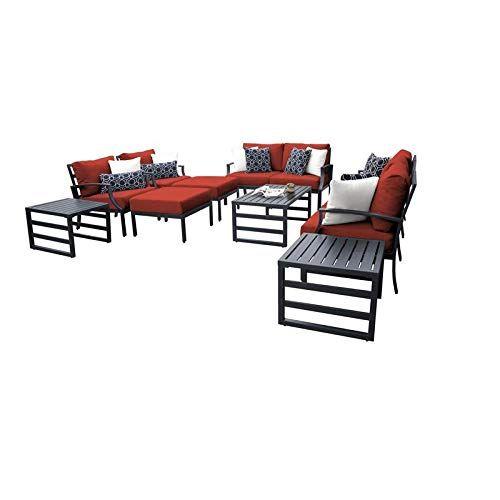 Tk Classics Lexington 12 Piece Aluminum Patio Furniture Set 12h In Terracotta Aluminum Patio Furniture Outdoor Furniture Sets Outdoor Patio Furniture Sets