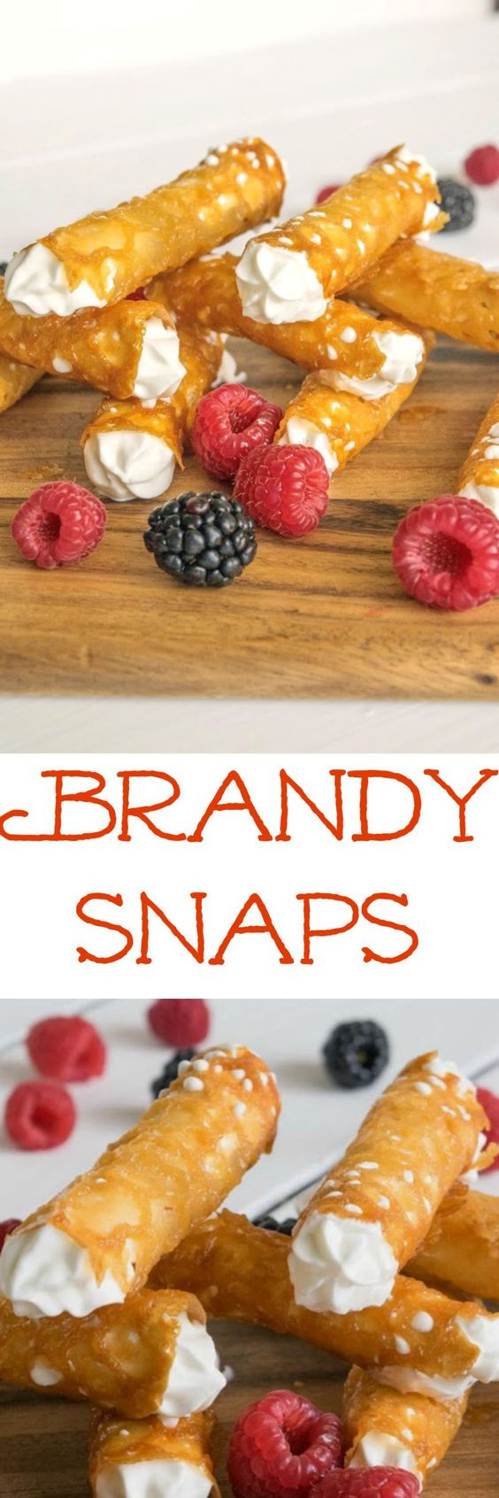 Brandy snaps, a popular dessert in the UK. Crispy golden lacy tubes filled with brandy whipped cream. A British holiday tradition & the brandy is optional.