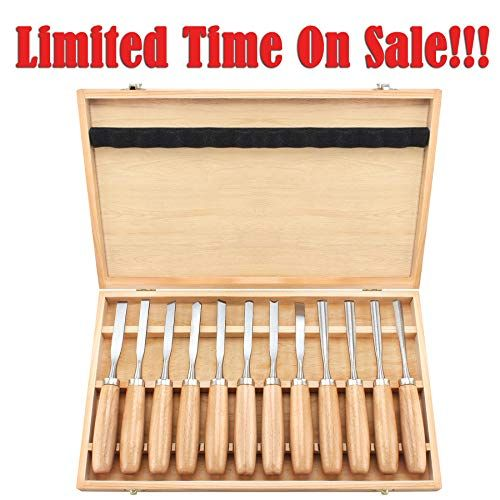 12 Piece Chisel Set Wood Carving Tools Carbide Lathe Tools Wood Turning Tools Kit With Walnut Wood Handles High Lathe Tools Wood Carving Tools Wood Turning