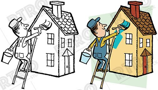 A House Painter On A Ladder Paints A House A New Color Vintage Retro Clipart Clip Art House Painter Stock Images Free Character Design