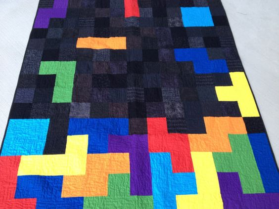 Tetris Blocks Handmade Video Game Quilt Twin Size by quiltyninja