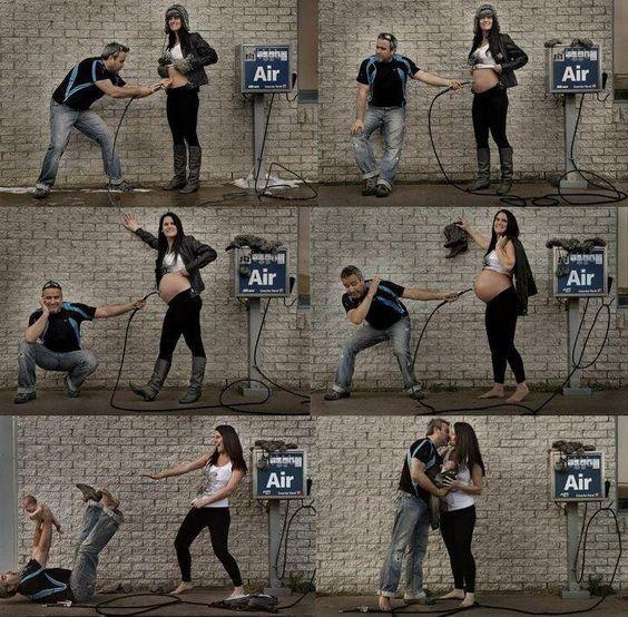 Cute pregnancy photo timeline using an air pump: Photoidea, Baby Idea, Baby Announcement, Photography Idea, Picture Idea, Pregnancy Photo, Photo Idea, Maternity Photo