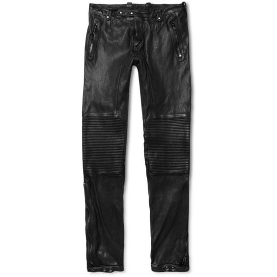 Belstaff Telford Slim-Fit Leather Biker Trousers ($2,450) ❤ liked on Polyvore