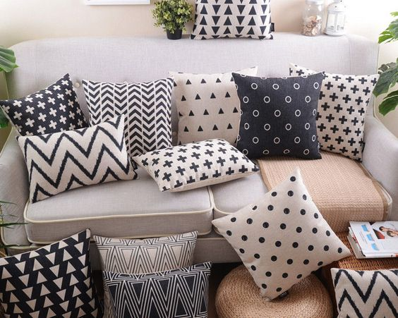 Geometric Triangles dots circles plus zigzag chevron cushion cover pillow case #UnbrandedGeneric