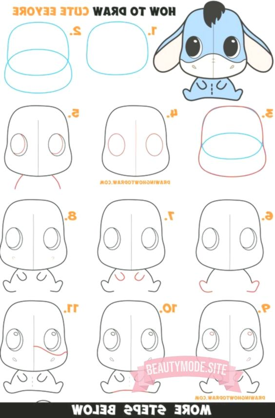 Wie Zeichnet Man Ein Susses Chibi Kawaii Eeyore Easy Step By Step