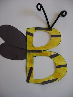 """B"" for insect unit could do an a-z of insects and colour the shape to match insect or have the insect crawling on the letter"