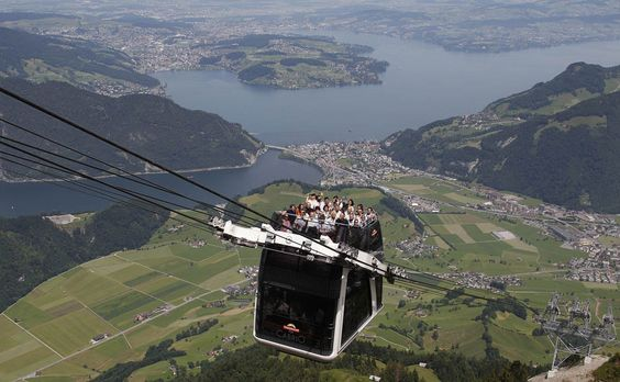 The world's first open-air doubledecker cable car system on the Stanserhorn mountain, Switzerland.