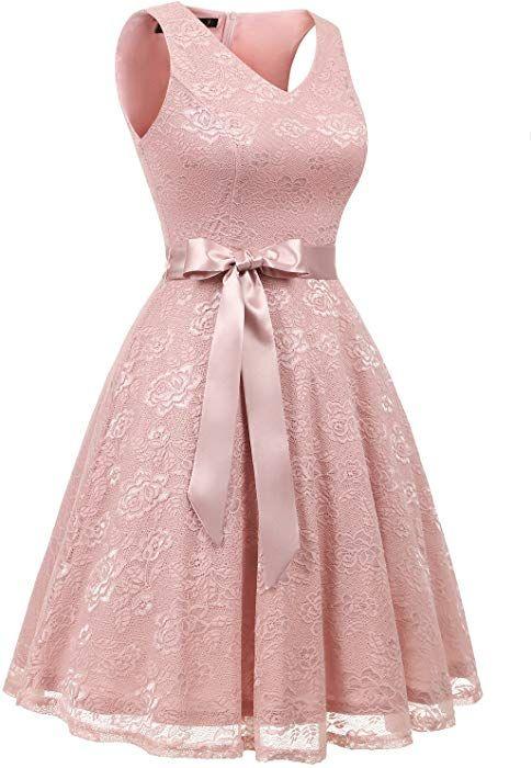 Damen Spitzen Ärmellos Brautjungfernkleid Floral Elegant Cocktail Party Kleid