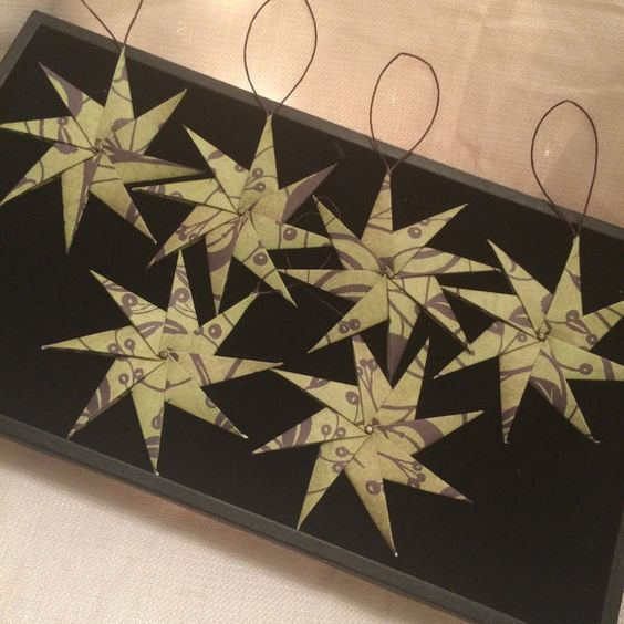 Set of 6 origami star ornaments