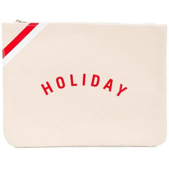 Holiday Holiday 'Holiday' Logo Pouch (2.455 RUB) ❤ liked on Polyvore featuring beauty products, beauty accessories and bags & cases