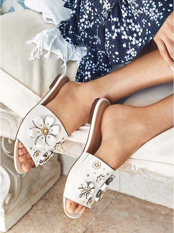 Tara Floral Embellished Leather Slide