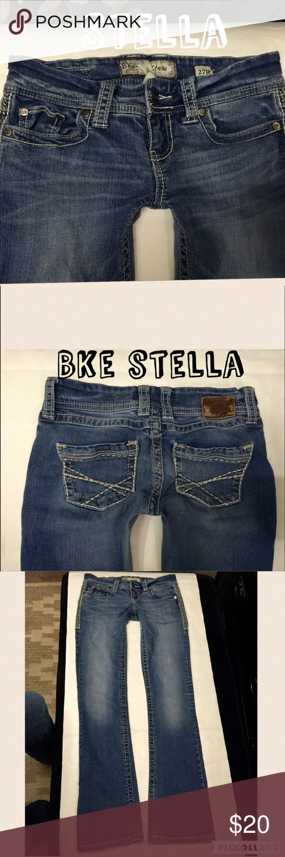 "Bke denim jeans STELLA size 27 Style:Stella bootcut💥size:27💥inseam:31""💥rise:7""💥waist across top laying flat:15""💥hip:17.5""💥leg opening:8""💥2% spandex/stretch BKE Jeans Boot Cut"