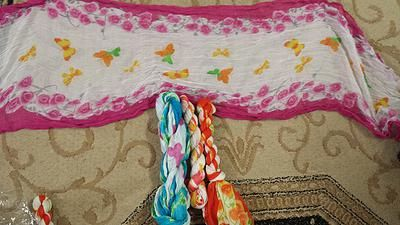 Tichelights - Butterfly and Flower - http://www.royalhaircovers.com/?product=tichelights-butterfly-flower