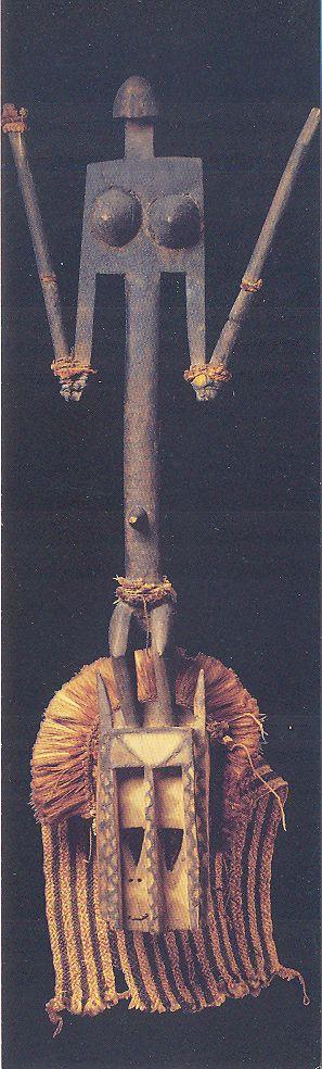 Masque anthropomorphe, satimbe (avant 1931) Mali, Dogon. Bois de kapokier, pigments, fibres végétales. Musée du quai Branly, Paris. http://www.quaibranly.fr