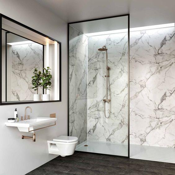 Multipanel Linda Barker Calacatta Marble Hydro-Lock Tongue & Groove Bathroom Wall Panel