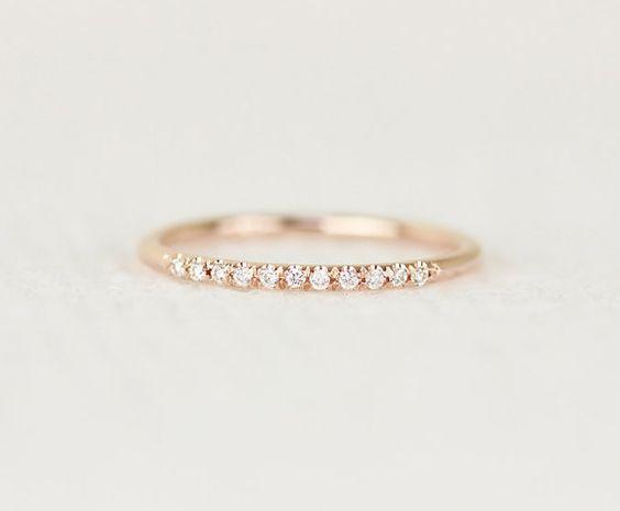 14 k Rose Solid Gold Diamanten Eheringe In Mikro von KHIMJEWELRY