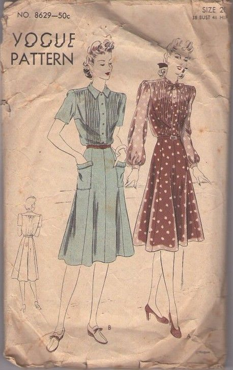Vogue 8629 Vintage 40's Sewing Pattern BEAUTIFUL WW2 Era Shirtwaist Day Dress, Flap Pockets, Gored Skirt, Pin Tucks #MOMSPatterns