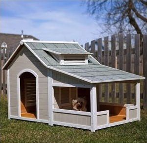 Cute craftsman style #dog #house with white trim