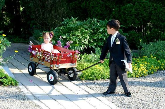 Radio flyer wooden wagons add a country feel.