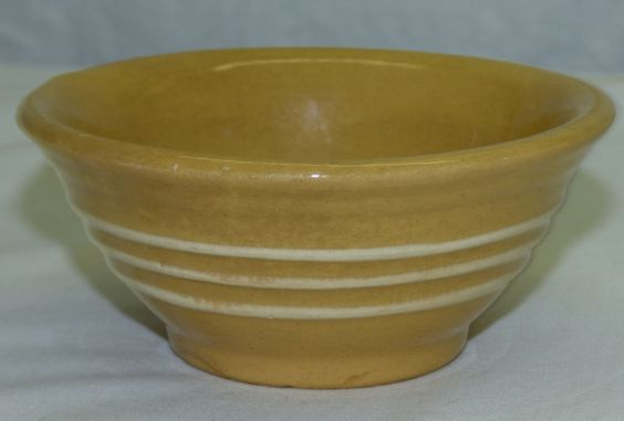 "Antique Small 4.5"" Yellowware Banded Mixing Bowl w/ 3 Stripes Yellow Stoneware"