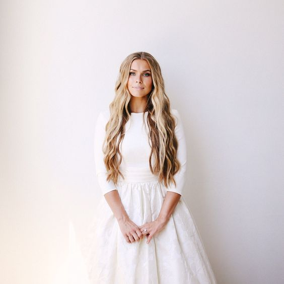 Modest wedding dress with three quarter sleeves from alta moda,  --  (modest bridal gown)  --  photo: mandi neilson