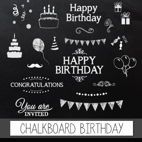"Chalkboard clipart birthday: Digital clip art ""CHALKBOARD BIRTHDAY"" pack with chalkboard happy birthday, congratulations invite elements"