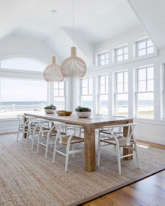 Ring In The Summer Months With These Fabulous Collections Of Rugs To Spruce Up Any Space Beach House Dining Room House Interior Dining Room Design