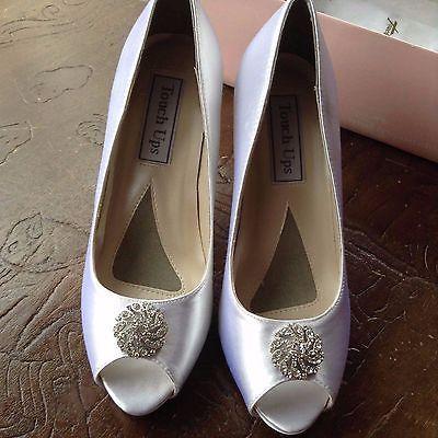 Touch Ups Joyce White Rhinestone Satin Dyable Open Toe Bridal Shoe NEW 5