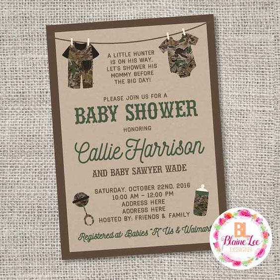 Camouflage Hunter Hunting Baby Shower Invitation ANY COLOR - Digital File
