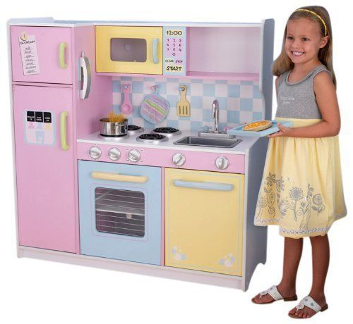 Girls kitchen set deluxe wooden large culinary kitchen 3 for Best kitchen set for 4 year old