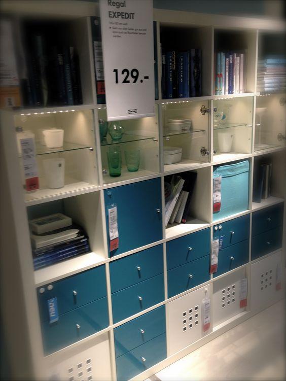 Ikea Expedit bookshelf in blue  studio  Pinterest  Ikea