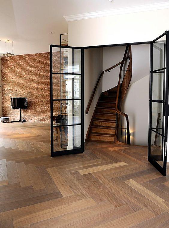 Hakwood Flooring - This room is 100% Amsterdam: Antique brick wall, super steep stair and Hakwood (Dutch) designed and manufactured herringbone.