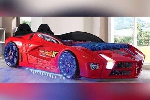 lit voiture de sport rouge a led flamme