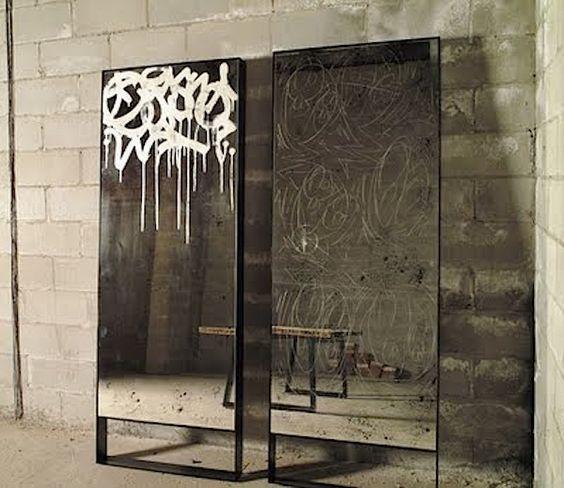 Graffiti on mirrors