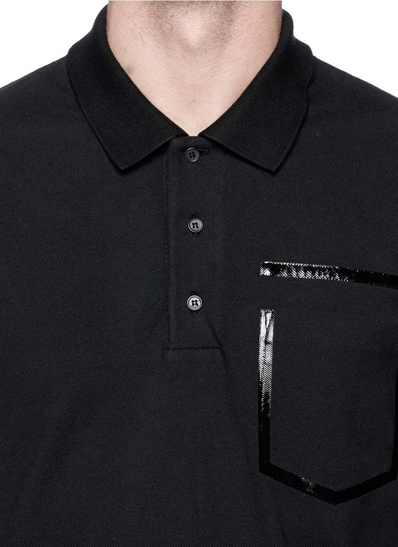 GIVENCHY - Heat seal faux pocket polo shirt | Black Short Sleeves Polos | Menswear | Lane Crawford