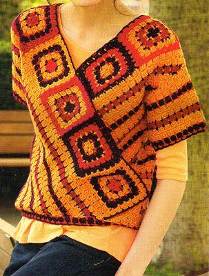 tejidos artesanales: remera con escote en V tejida en crochet (talle small) (s)