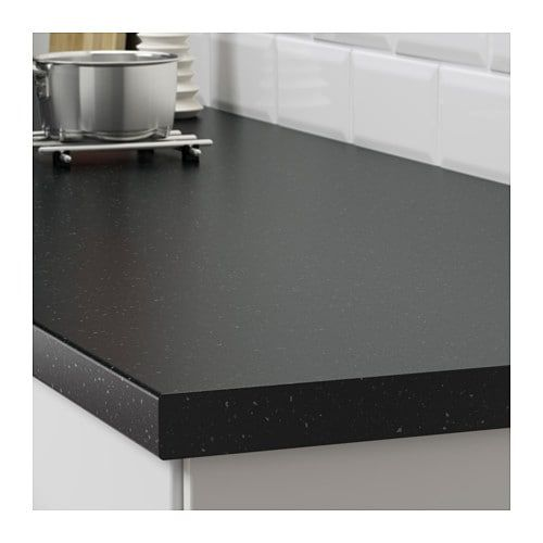 Saljan Plan De Travail Sur Mesure Noir Motif Mineral Stratifie 45 1 63 5x3 8 Cm Plan De Travail Ikea Stratifie
