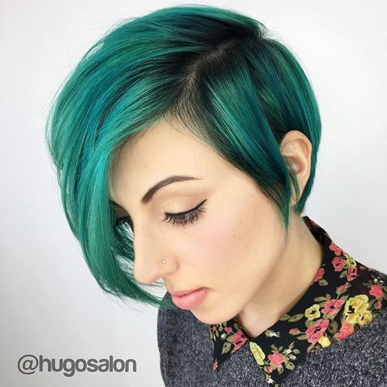 Teal green hair color painted over a sweet short hair cut by Mimi of Hugo Salon. www.hotonbeauty.com