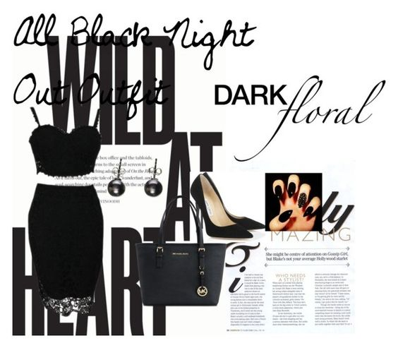 """All Black Outfit"" by amyjayneholls ❤ liked on Polyvore featuring moda, Jimmy Choo y Michael Kors"